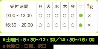 月,火,水,木,金,土【午前】9時~13時【午後】16時半~20時【休診日】土曜午後,日祝